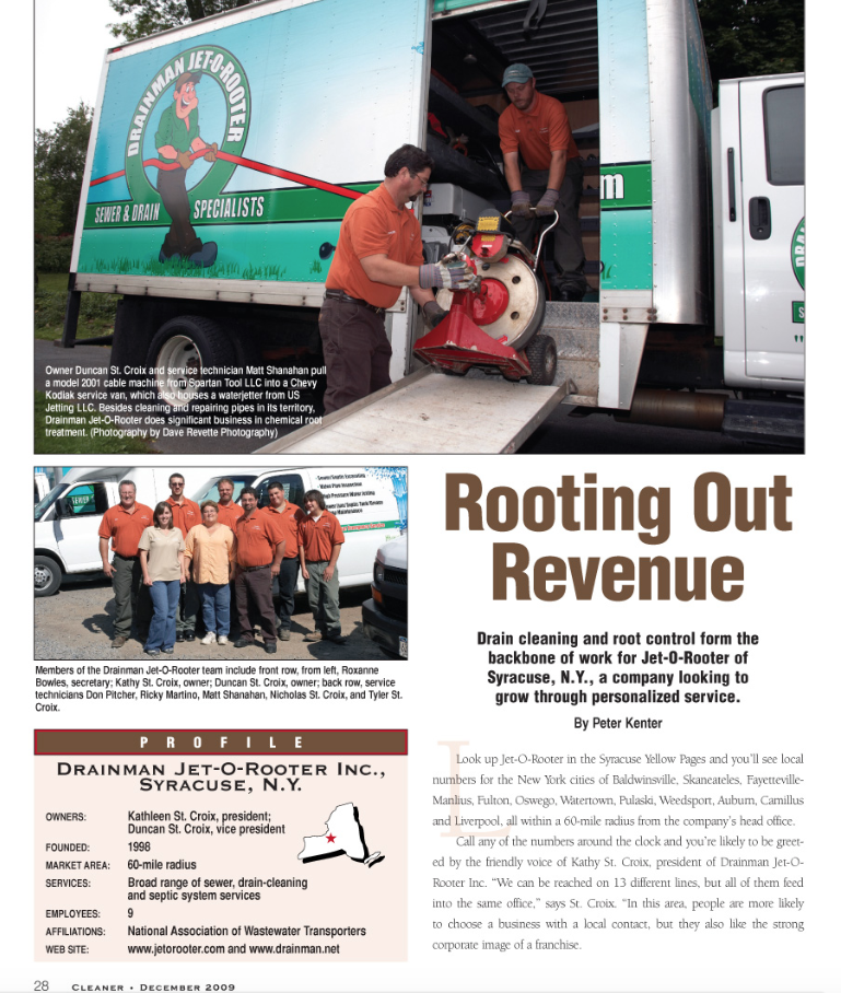 Mr. Rooter of Greater Syracuse was last featured in the magazine in December 2009.