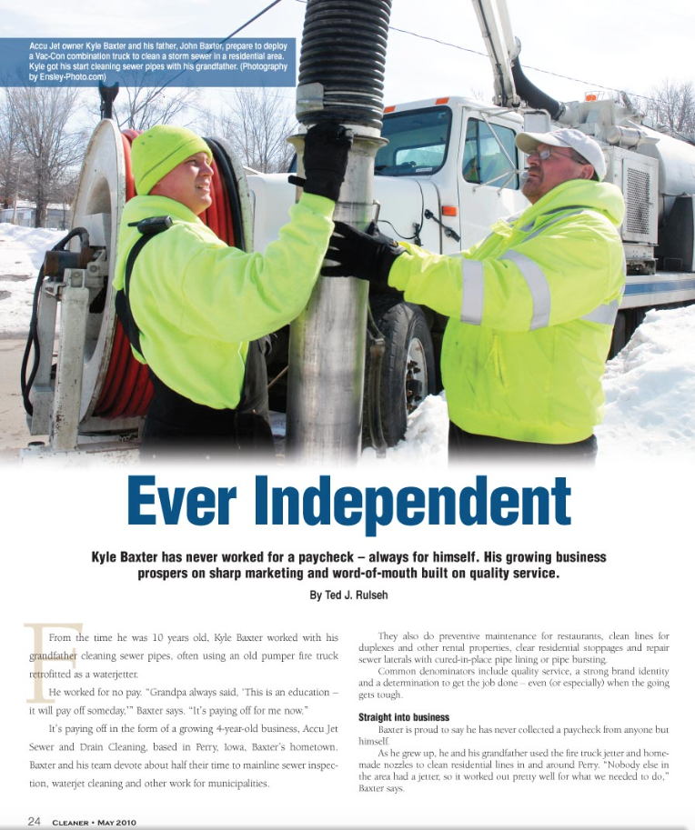 Kyle Baxter (left) and AccuJet Sewer and Drain Cleaning were last featured in the magazine in May 2010.
