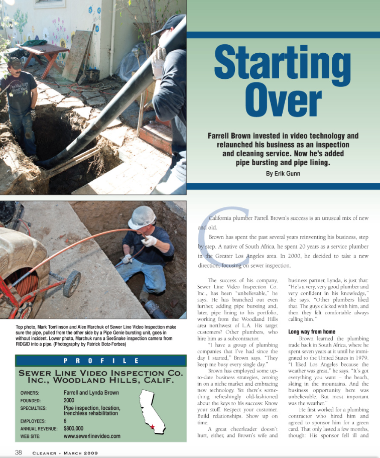 Sewer Line Video Inspection was last featured in the magazine in March 2009.