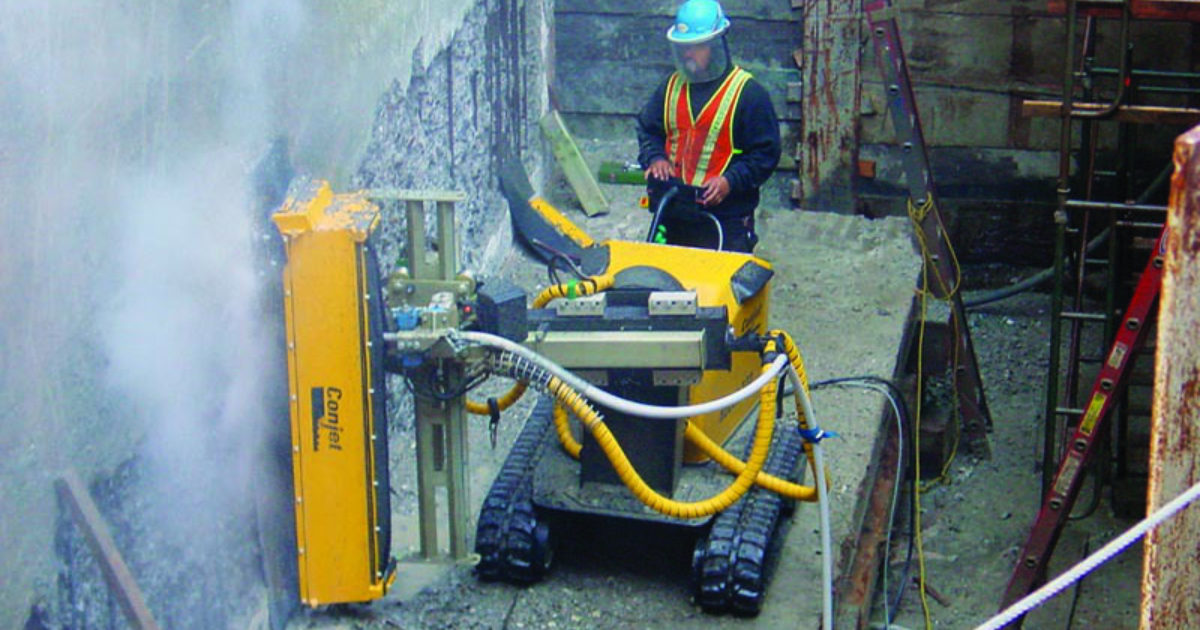 Hydrodemolition Robot Removes Concrete Cleans Rebar Cleaner