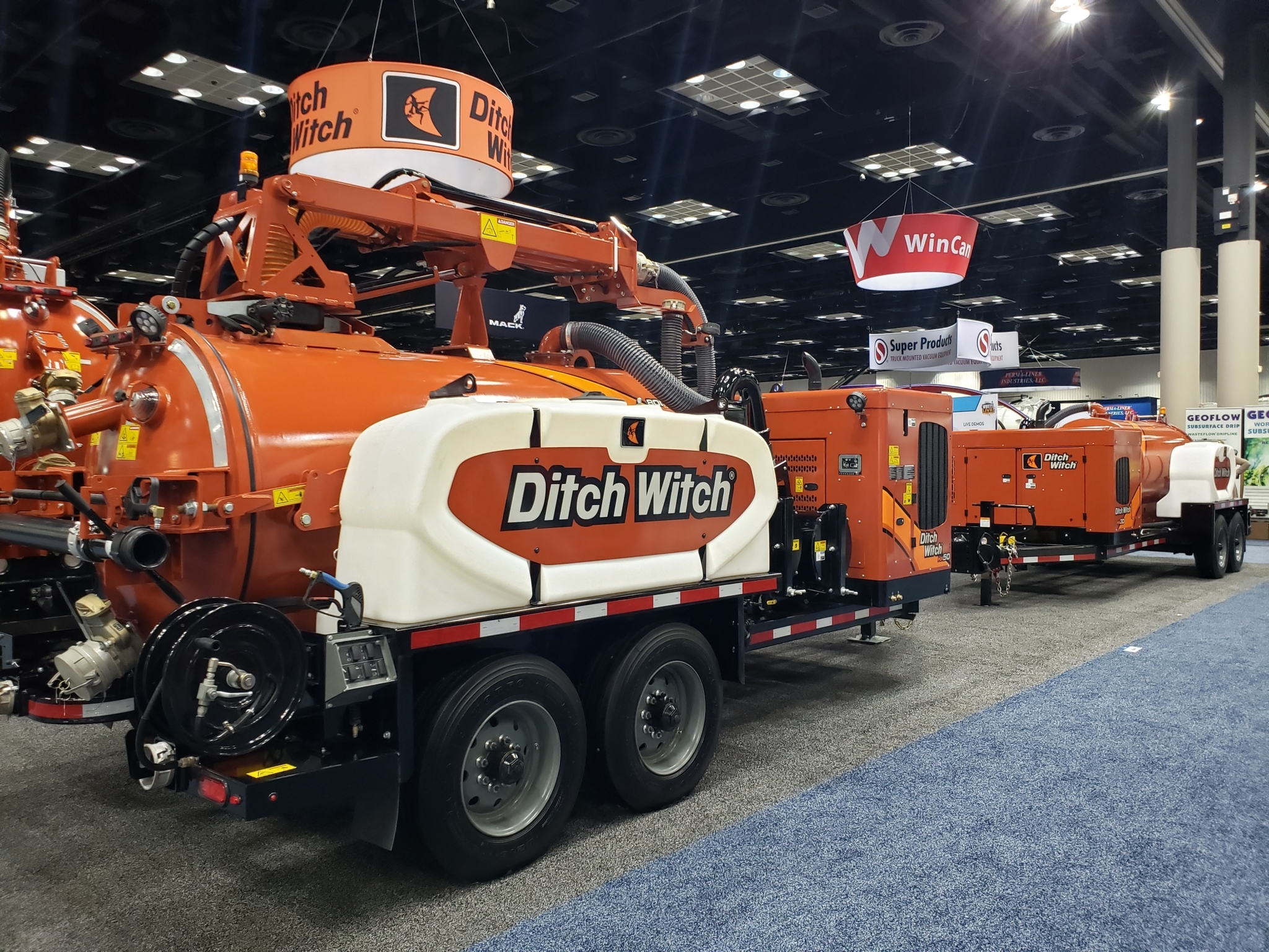 The Ditch Witch HX50, left, and HX30 trailer vacuum units were on display at the Water & Wastewater Equipment, Treatment & Transport (WWETT) Show in Indianapolis. These are just two models of trailer vacuum excavators the company has available. Trailer units make it possible for more contractors to use vacuum excavation without the price point of a large hydroexcavator.