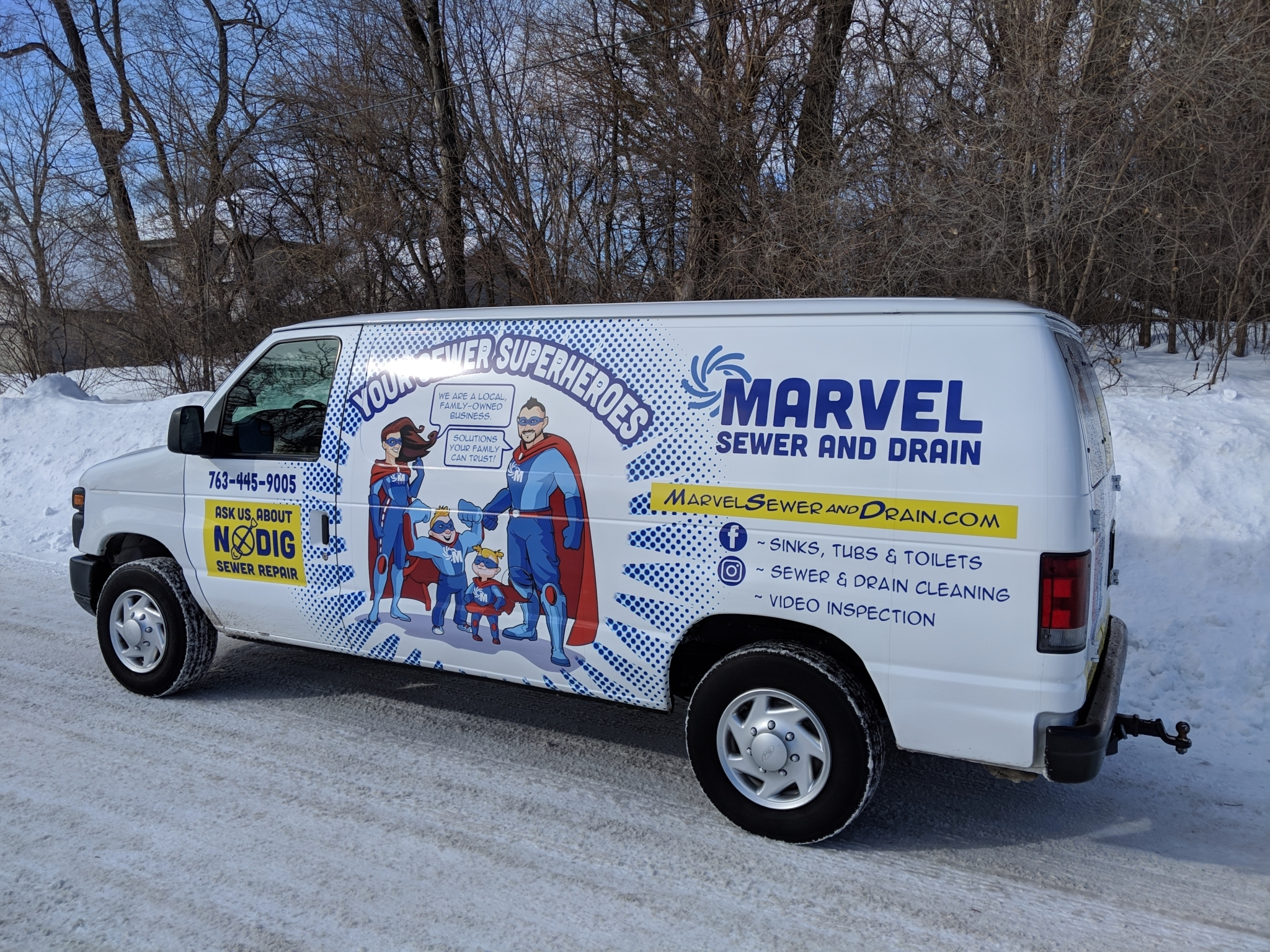 Marvel Sewer and Drain's logo is cartoon versions of owner Ben Smith's family, children included, as superheroes.